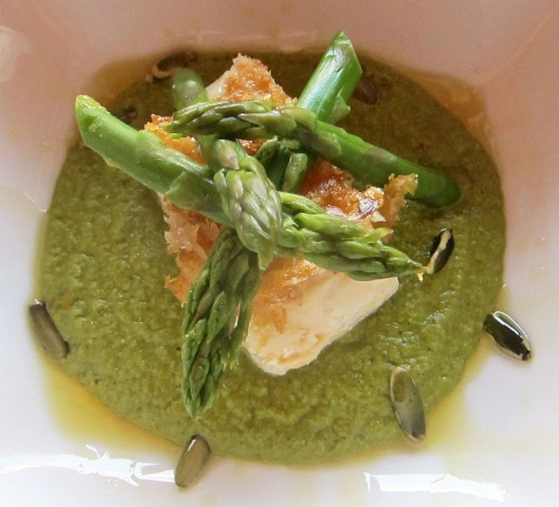 Fish with green mole
