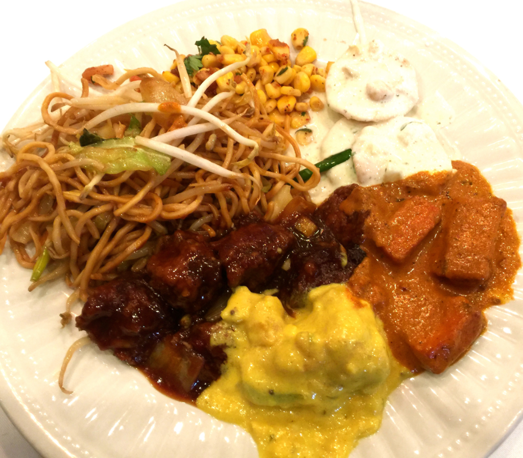 You Could Compose A Fusion Appetizer Plate Of Corn Chaat Khadi Pakoras In Yellow Sauce Above And Chinese Bhel Which Is Composed Crisp Thin Noodles
